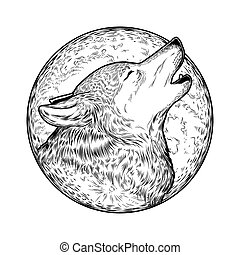 illustration of a howling wolf, engraving. Print for...