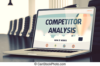 Competitor Analysis on Laptop in Conference Room. 3D.