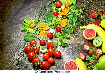 吃, 健康, 蔬菜,  -, 食物, 水果, 有机