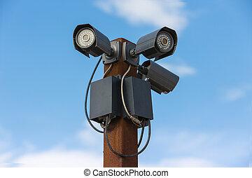 cielo,  cameras,  CCTV, Tre, contro, sicurezza