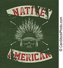 Native american illustration, vintage typography