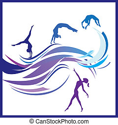 Woman gymnastics - Vector illustration of silhouettes...