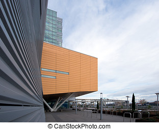 Fragments of geometric modern architecture buildings urban...