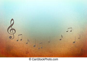 Música, notas,  -, Plano de fondo, Ilustración