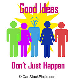 brainstorming poster - brainstorming colorful figures on...