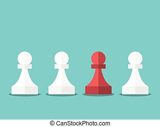 Red unique chess pawn standing among white ones on turquoise...