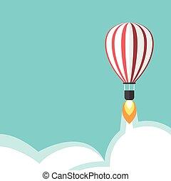 Jet propelled balloon - Jet propelled hot air balloon on...