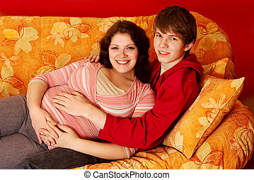 couple wait for the child - happy young couple wait for the...