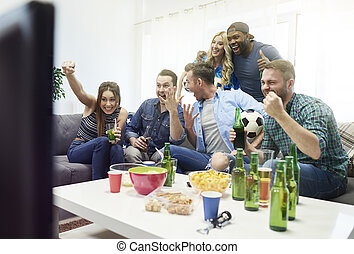 Real emotions while watching soccer match