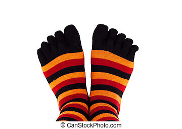 feet wearing colored socks - picture of a woman's feet...