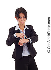 woman pointing her watch - angry business woman pointing her...