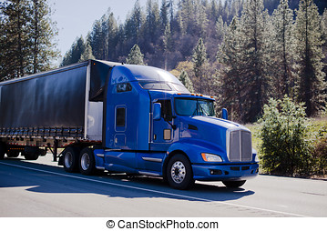 Big modern famouse rig semi truck blue and black trailer tented on road in forest hills