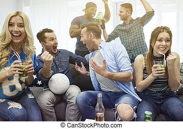 Euphoria after scoring the goal