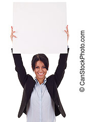Business woman with blank board - Business woman standing...