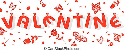 valentine - alphabet valentine hang in line with rose and...