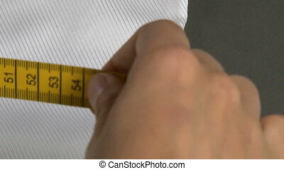 Tailor Measuring Man Shirt Waist Width - Tailor measuring...