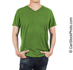 Close up of man in front  green shirt on white background.