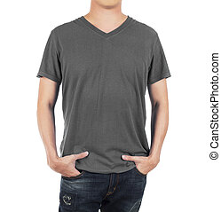 Close up of man in front  grey shirt on white background.