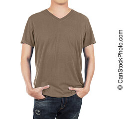 Close up of man in front brown shirt on white background.
