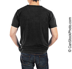 Close up of man in back black shirt on white background.