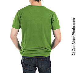 Close up of man in back green shirt on white background.