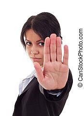 negócio, mulher, dizendo, parada