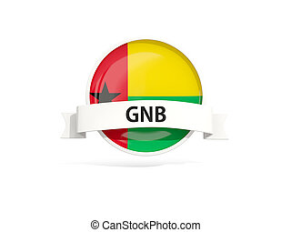 Flag of guinea bissau with banner and country code isolated...