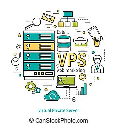 Consept VPS - Virtual Private Server - Vector thin line art...
