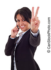 Happy business woman with phone and victory gesture,...