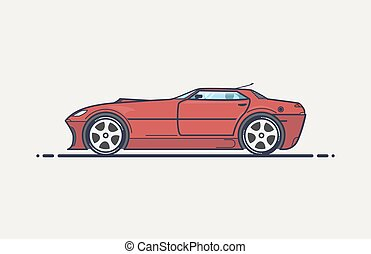 Fictional sport car line vector illustration. Red muscle car...