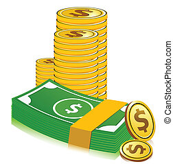 stack of dollar currency - illustration of vector dollar...