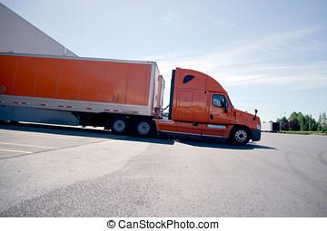 carga, semi, naranja, camión, Descargar, almacén, elegante,...