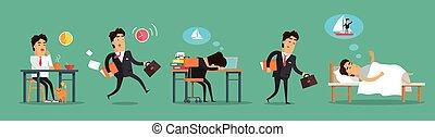 Businessman Working Day. Breakfast Work Sleep - Businessman...