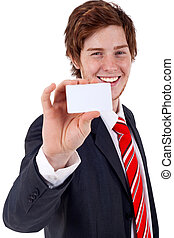 this is my card - Young business man showing off his blank...
