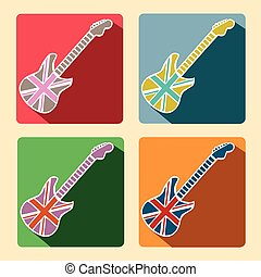 British Guitar flat icons with long shadow - British Flag...
