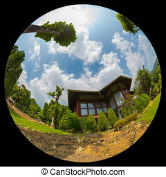 tropical resort timelapse with fisheye lens 360