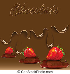 chocolate, strawberry and caramel - illustration, strawberry...