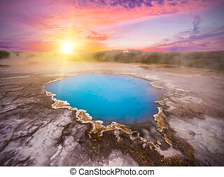 Hveravellir - Incredibly blue pool Blahver at Hveravellir is...
