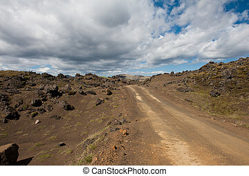 Dirt road in Iceland - Rough empty dirt road in Icelandic...