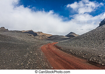 Dirt road in Iceland - Red empty dirt road in Icelandic...