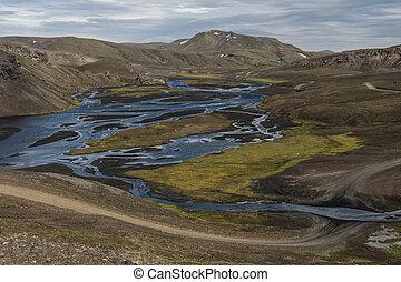 Landmannalaugar camp - River crossing near Landmannalaugar,...