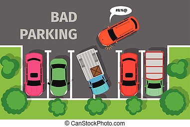 Bad Parking. Car Parked in Inappropriate Way. - Bad parking....