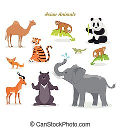 Asian Animals Fauna Species. Camel, Panda, Tiger, - Asian...