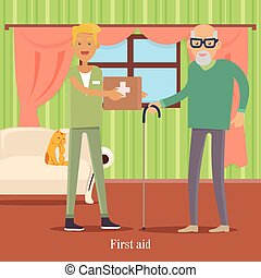 First Aid for Old Man. Health Care Concept. Vector