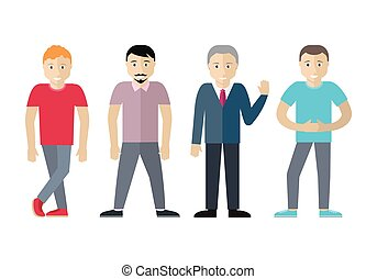 Set of Men Different Age and Status. Vector