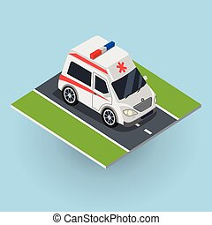 Ambulance Car on the Road. Top View