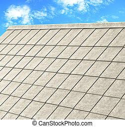 grey tile roof of construction house with blue sky and cloud...