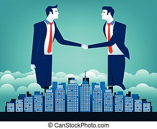 Business team shaking hands with city background
