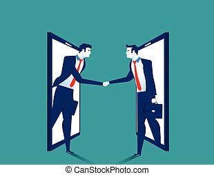 Agreement. Businessman handshake on smartphone. Concept...