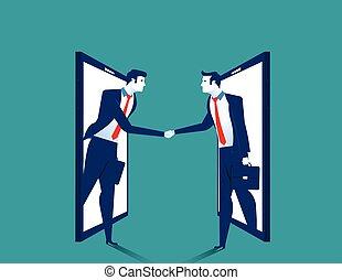 Agreement. Businessman handshake on smartphone